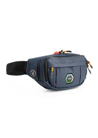 Navy color Messenger Bags . Tas Selempang Pria PREMIUM Berkualitas Tinggi - WaistBag Pushop Bikers Waterproof USB -