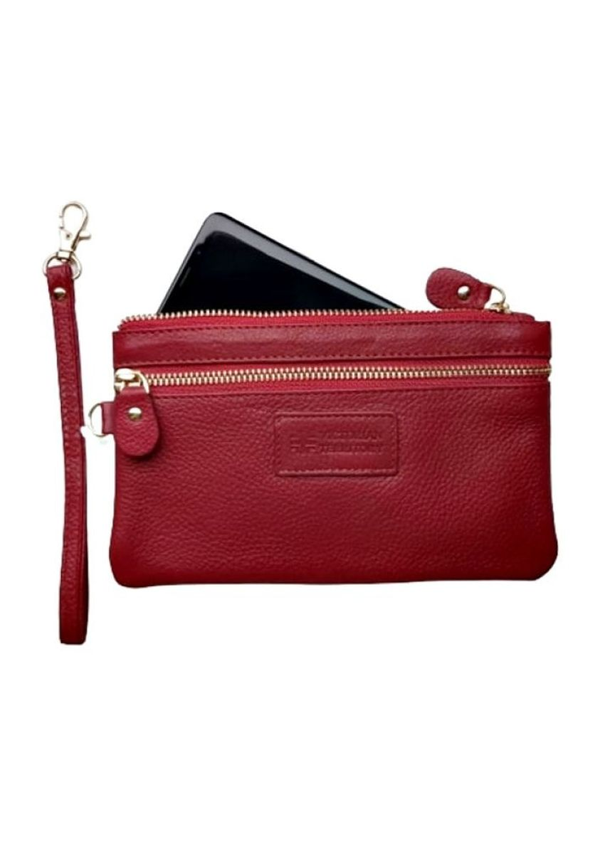 Red color Wallets and Clutches . Victorian Territory - Full Grain Cow Calf Leather VIVO Wristlet -