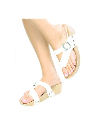 White color Sandals and Slippers . Teolinda Women's Sandals -