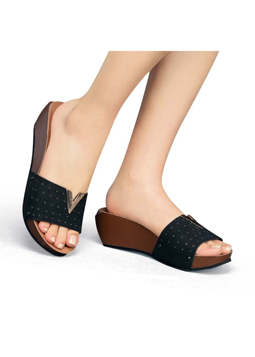 Black color Sandals and Slippers . Vicky Women's Sandals -