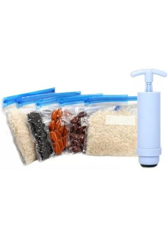 White color Kitchen . Reusable Vacuum Bags with Small Pump - 5 Pieces -