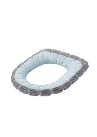 Grey color Bathroom . Universal Warm Soft Washable Toilet Seat Cover -