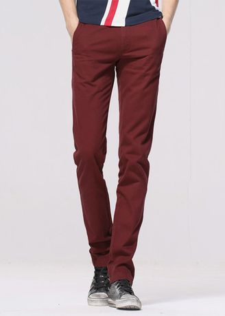 Red color Formal Trousers . Men INNO low rise slim fit khakis  -