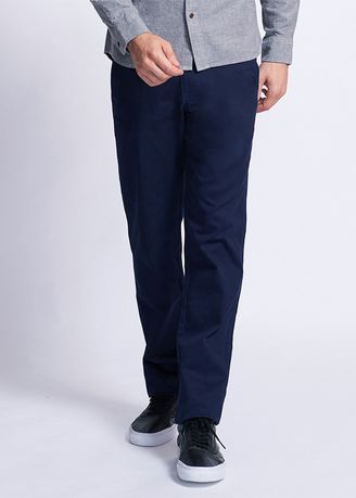 Navy color Formal Trousers . Low rise slim tapered khakis (Men) -