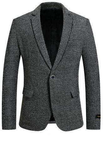 เทา color เสื้อเบลเซอร์ . Men's Casual Business Design Fashion Slim Fit Style Blazers -