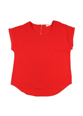 Red color Tops and Tunics . Women's Chiffon Blouse -