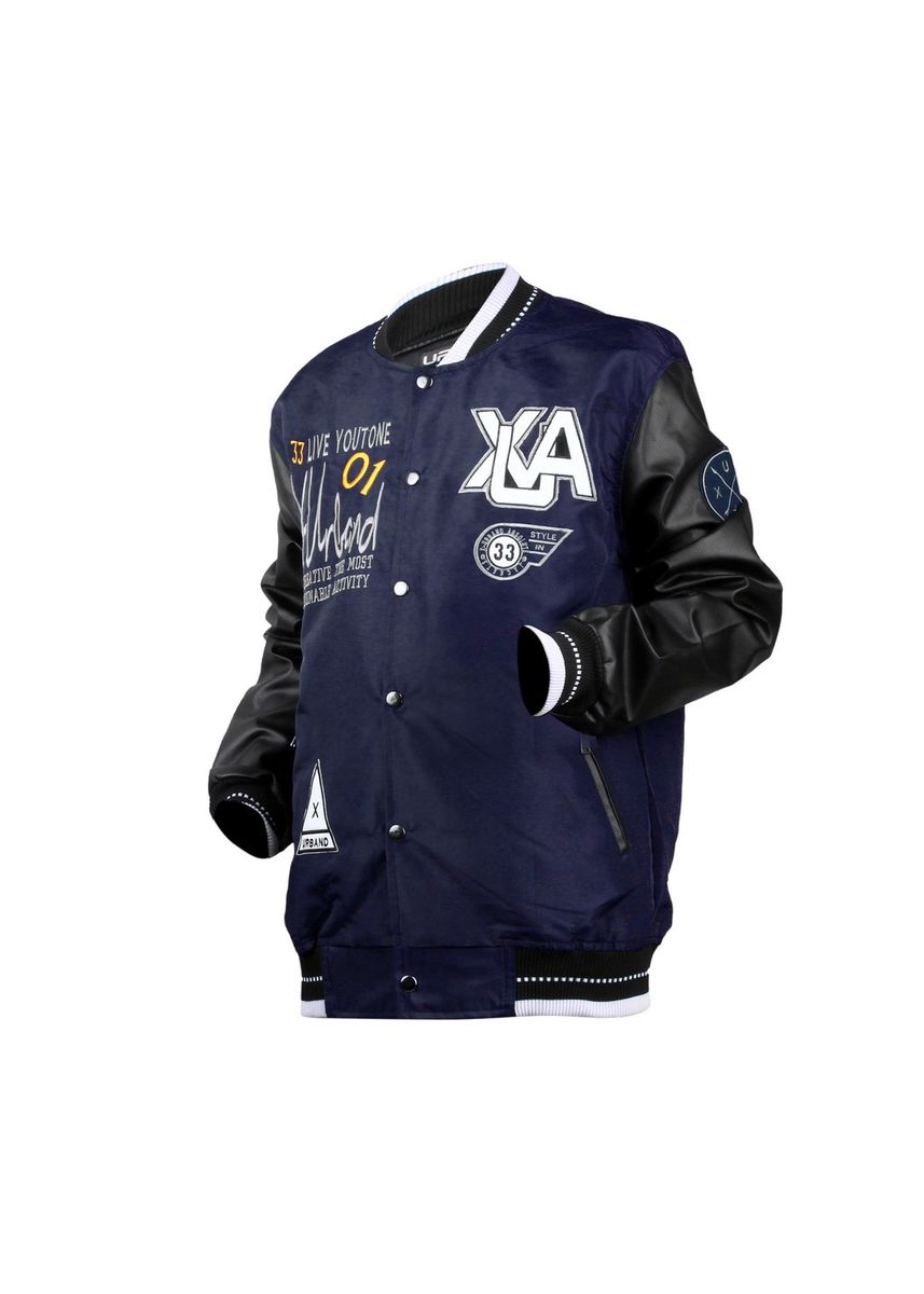 Navy color Outerwear . X-Urband Official - Jaket Varsity Pria (Navy) A033 -