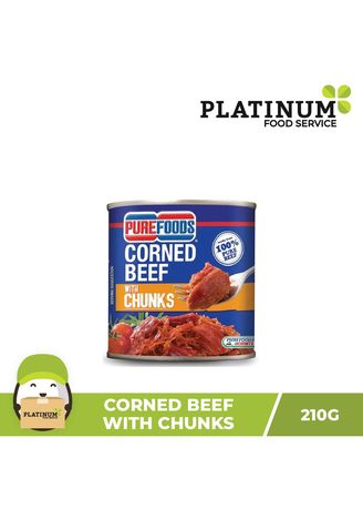 No Color color Canned Food . Purefoods Corned Beef with Chunks, 210g -