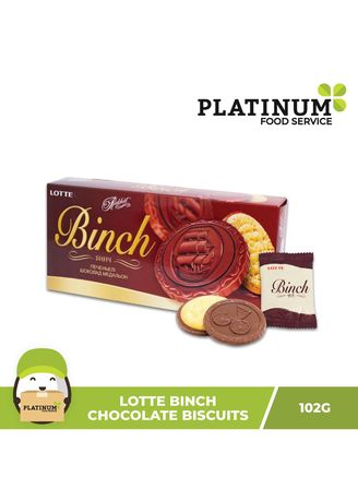 No Color color Snacks . Lotte Binch Chocolate Biscuits, 105g -