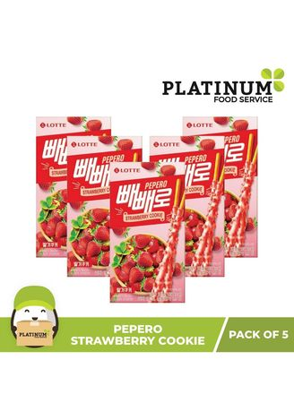 No Color color Snacks . Lotte Pepero Strawberry Cookie, 43g (Pack of 5) -