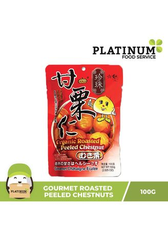No Color color Snacks . Gourmet Roasted Peeled Chestnuts, 100g -