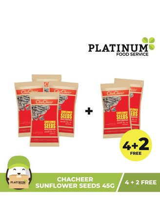 No Color color Snacks . [BUY 4 GET 2 FREE] ChaCheer Sunflower Seeds Spiced, 45g (Pack of 6) -