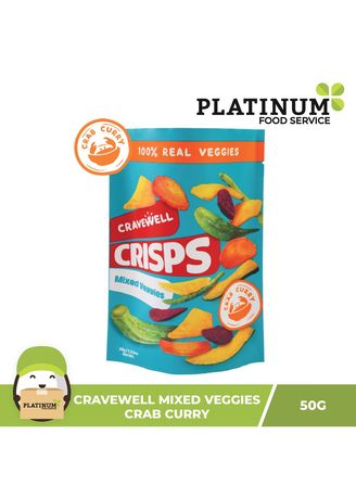 No Color color Snacks . Cravewell Mixed Vegetable Chips - Crab & Curry, 50g -