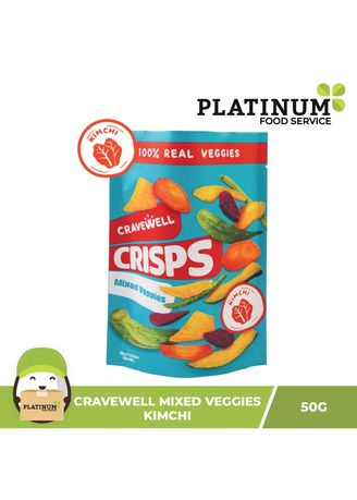 No Color color Snacks . Cravewell Mixed Vegetable Chips - Kimchi, 50g -
