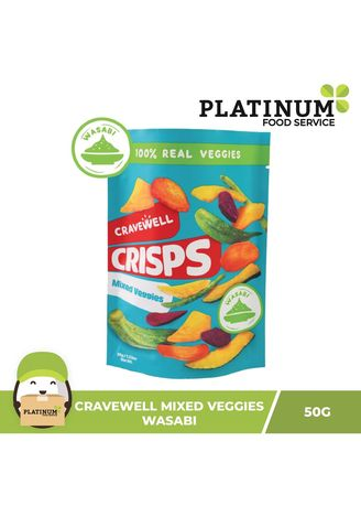 No Color color Snacks . Cravewell Mixed Vegetable Chips - Wasabi, 50g -