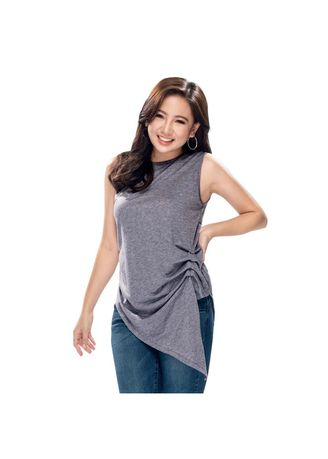 Grey color Tops and Tunics . Nazelyn Sleveless Blouse -