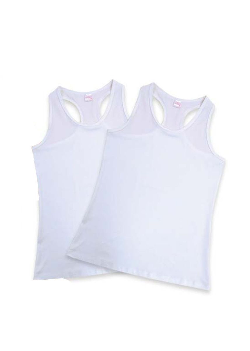 White color Tops and Tunics . Sonia Women's Tank Top (Set of 2) -