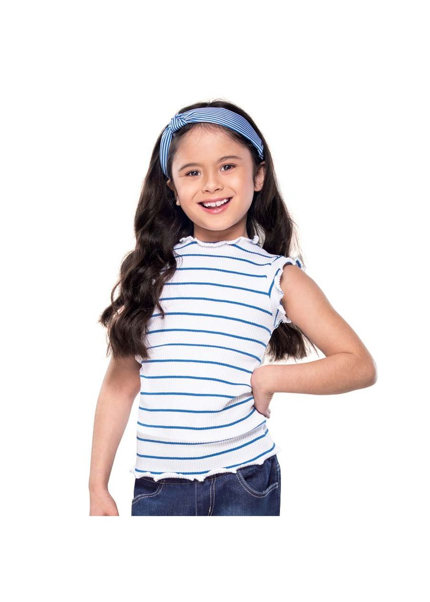 White color Tops . Raf Girl's Striped Blouse -