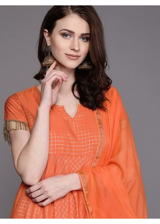 Beige color Kurtas & Kurtis . AKS Beige & Black Printed Straight Kurta With Salwar Set -