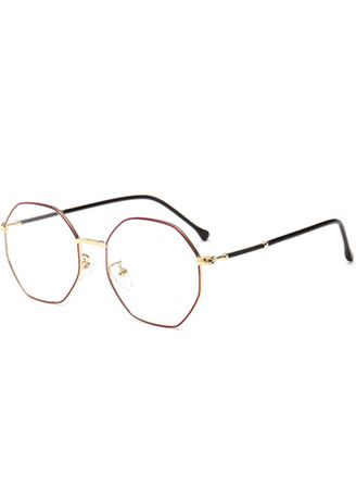มัลติ color แว่นกันแดด . Literary Polygon Retro Metal Round Glasses Red Gold Frame -