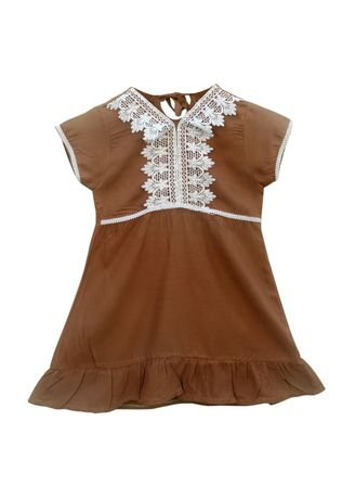 Cokelat color Terusan/Dress . Two Mix Daster Arabia Anak / Dress Arab Anak Perempuan 1-8 th 4070 -