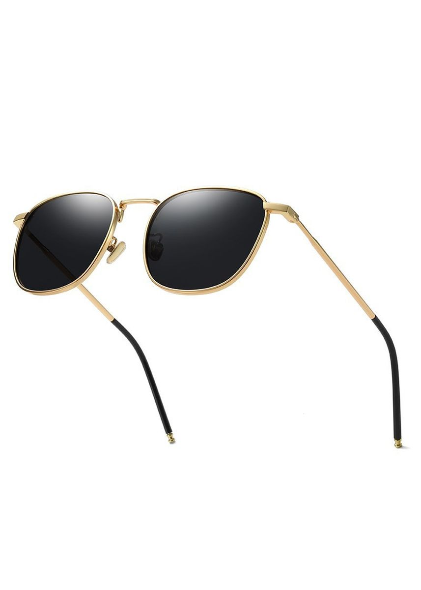 ดำ color แว่นกันแดด . Retro Polarized Metal Frame Gold Black Sunglasses -