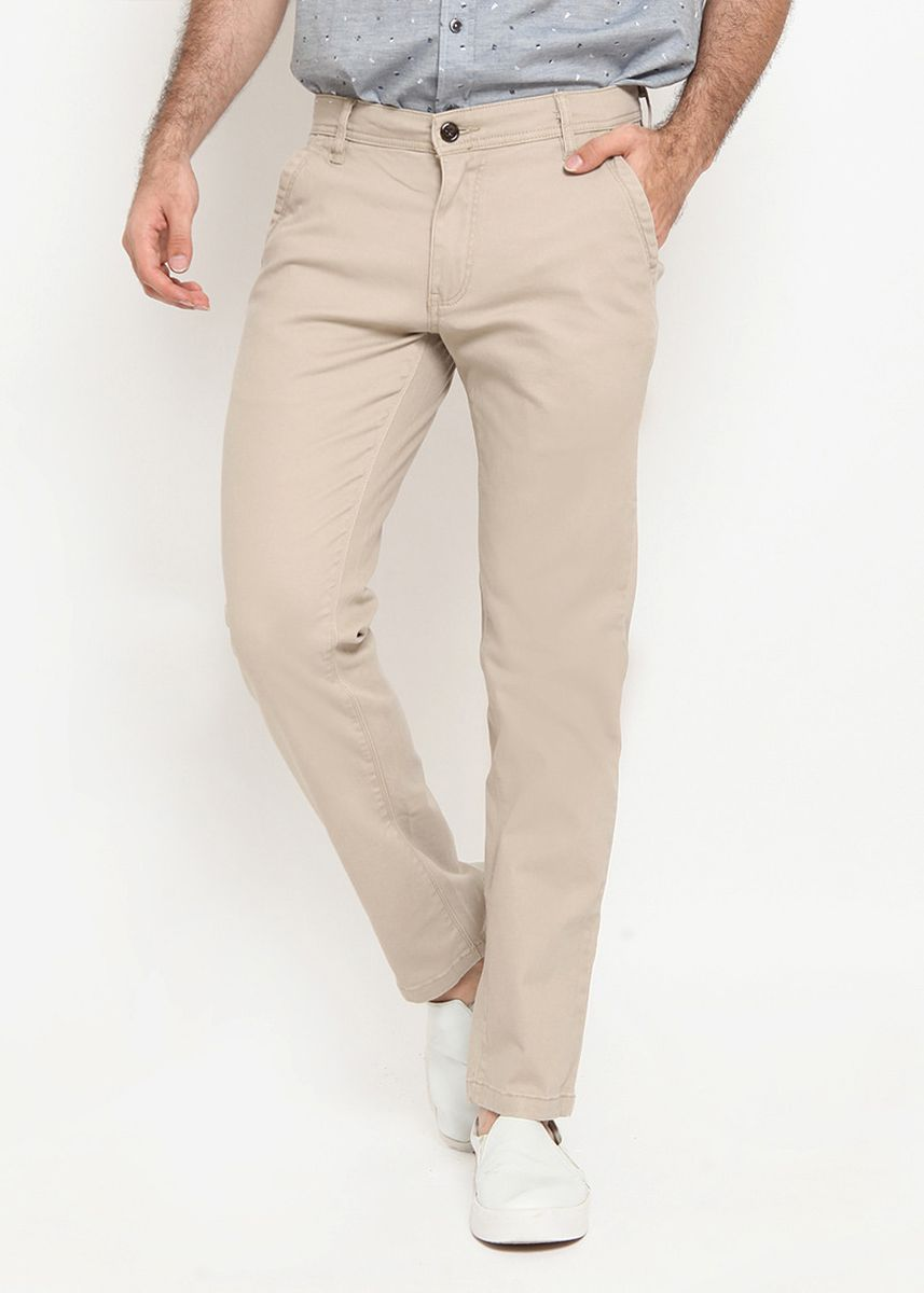 Grey color Formal Trousers . RBJ Celana Chinos Slim Fit Pria -