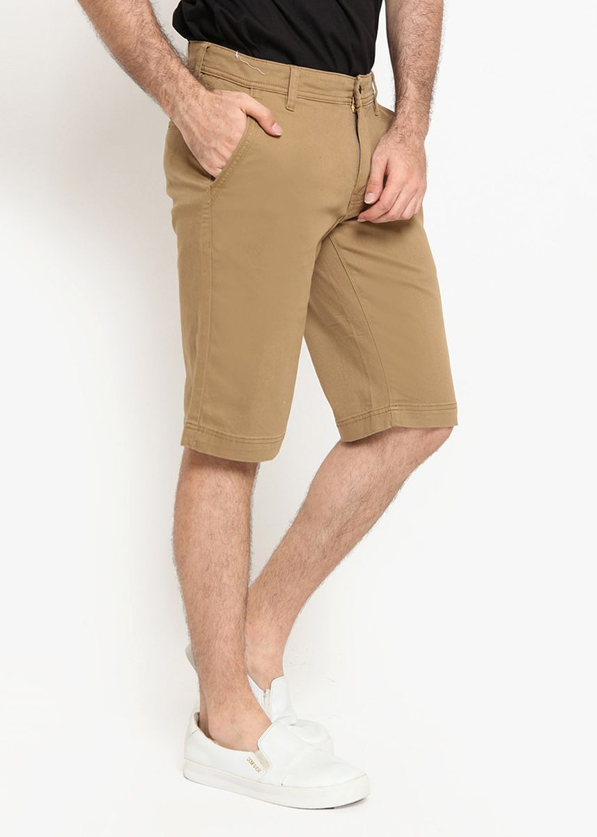 Brown color Shorts & 3/4ths . RBJ Celana Chinos Slim Fit Pria  -