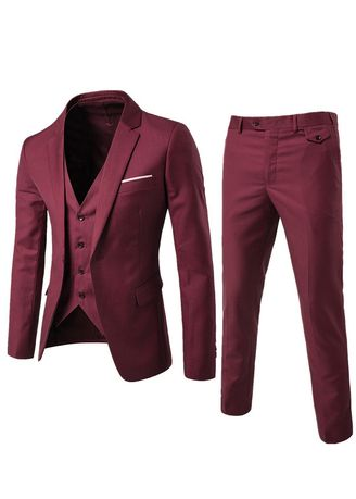 แดง color ชุดเสื้อผ้า . 3 PCS Sets Men's Formal Business Blazer Suit -