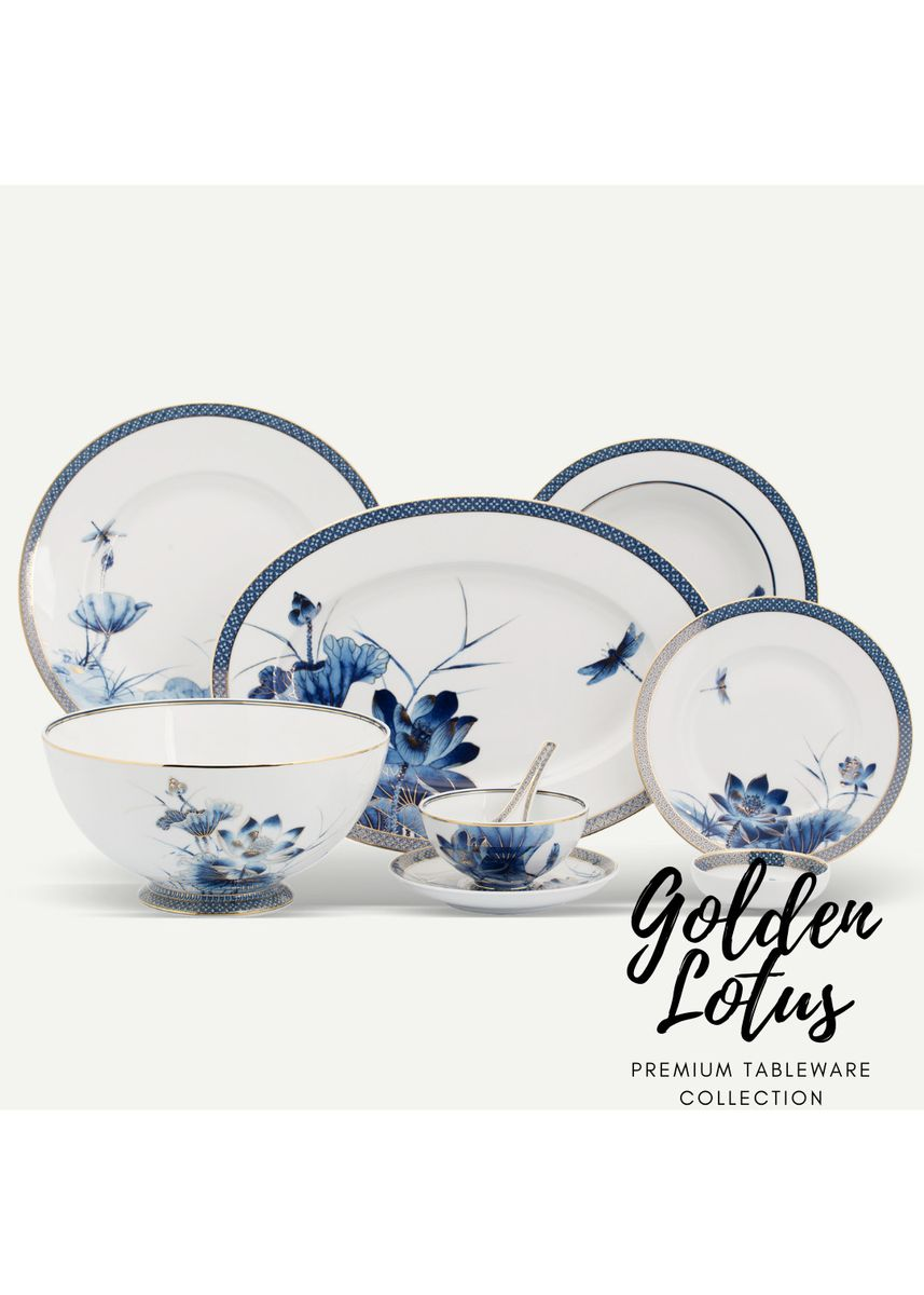 White color Kitchen . Golden Lotus - Flat Round Plate (28cm) -