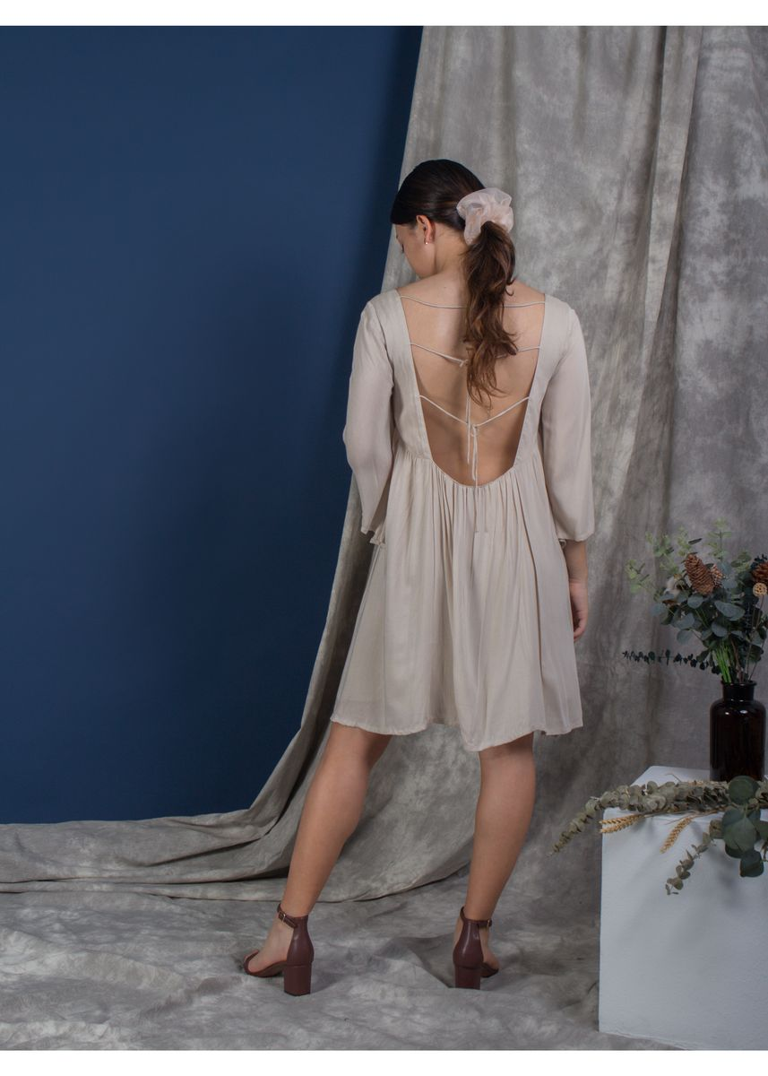 Beige color Dresses . The Exposed Back Bell Sleeve Dress  - Buttercream -