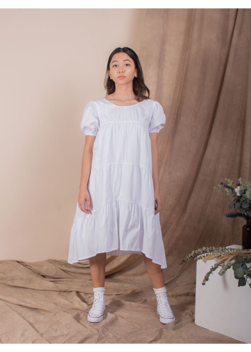 White color Dresses . The Puffed Sleeve Tiered Dress - White -