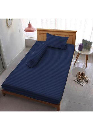 Blue color Bedroom . Sprei Extra Single 120 Deep Blue Embossed  Kintakun D'luxe Microtex 3in1 20cm -