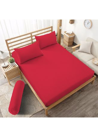 Red color Bedroom . Sprei King 180 Chilli Red Embossed Kintakun D'luxe Microtex 5in1 B2 20cm -
