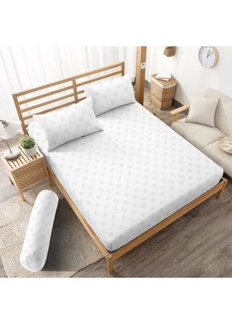 White color Bedroom . Sprei King 180 Pure White Embossed Kintakun D'luxe Microtex 5in1 B2 20cm -