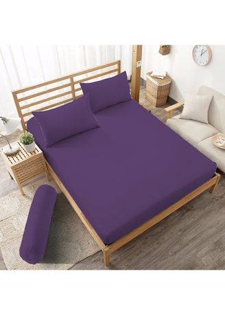 Purple color Bedroom . Sprei Queen 160 Royal Violet Embossed Kintakun D'luxe Microtex 5in1 B2 20cm -