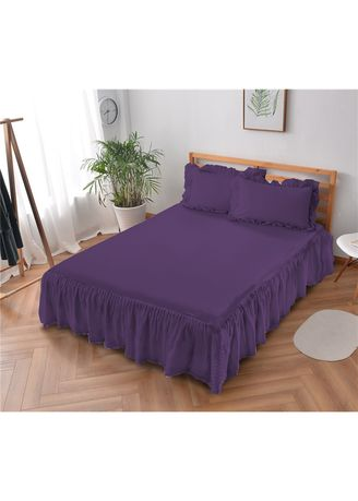 Ungu color Kamar Tidur . Sprei Rumbai King 180 Royal Violet Embossed  Kintakun D'luxe Microtex 5in1 39cm -