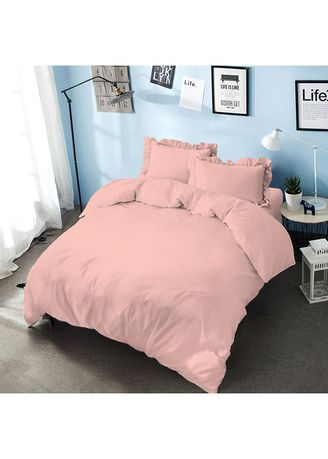 Pink color Bedroom . Bed Cover King 180 Candle Light Peach  Embossed  Kintakun D'luxe Microtex B2 5in1 39 cm -