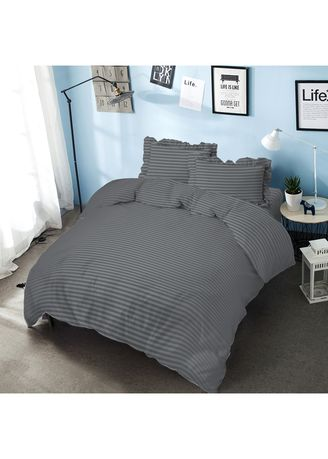 Grey color Bedroom . Bed Cover King 180 Cool Gray Embossed  Kintakun D'luxe Microtex B2 5in1 39 cm -
