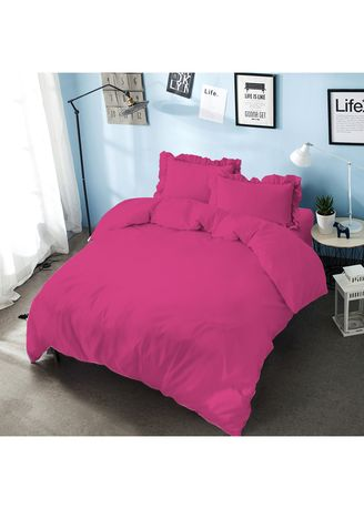 Pink color Bedroom . Bed Cover King 180 Pink Magenta Embossed  Kintakun D'luxe Microtex B2 5in1 39 cm -