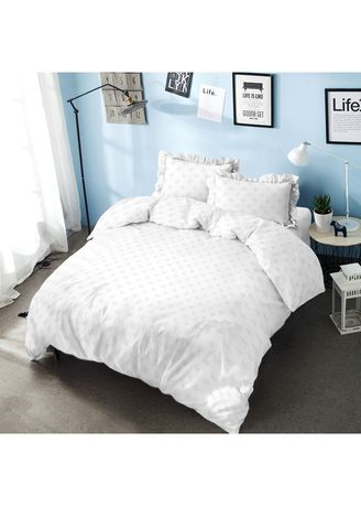 White color Bedroom . Bed Cover King 180 Pure White Embossed  Kintakun D'luxe Microtex B2 5in1 39 cm -