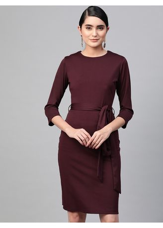 Red color Dresses . Wine Belted Straight Fit Dress -