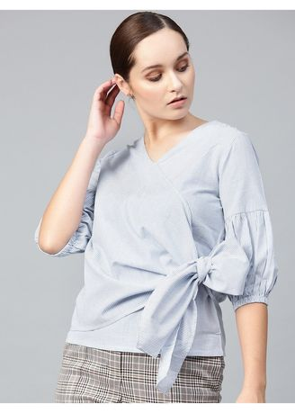 Blue color Tops and Tunics . Stripes Blue Top with Side Tie-Up -