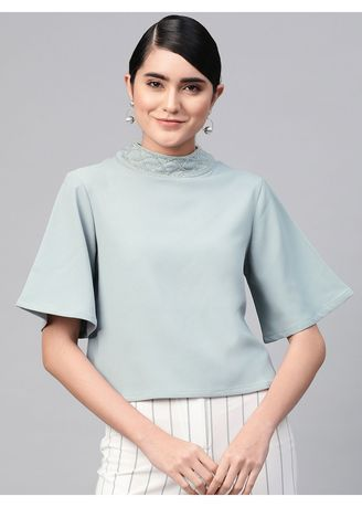 Blue color Tops and Tunics . Neck Design Boxy Fit Top -