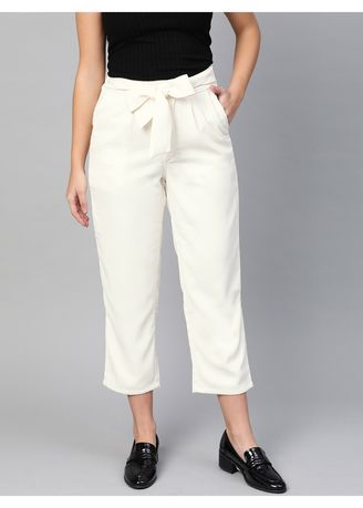 White color Trousers . Off-White Cropped Ankle Pants -