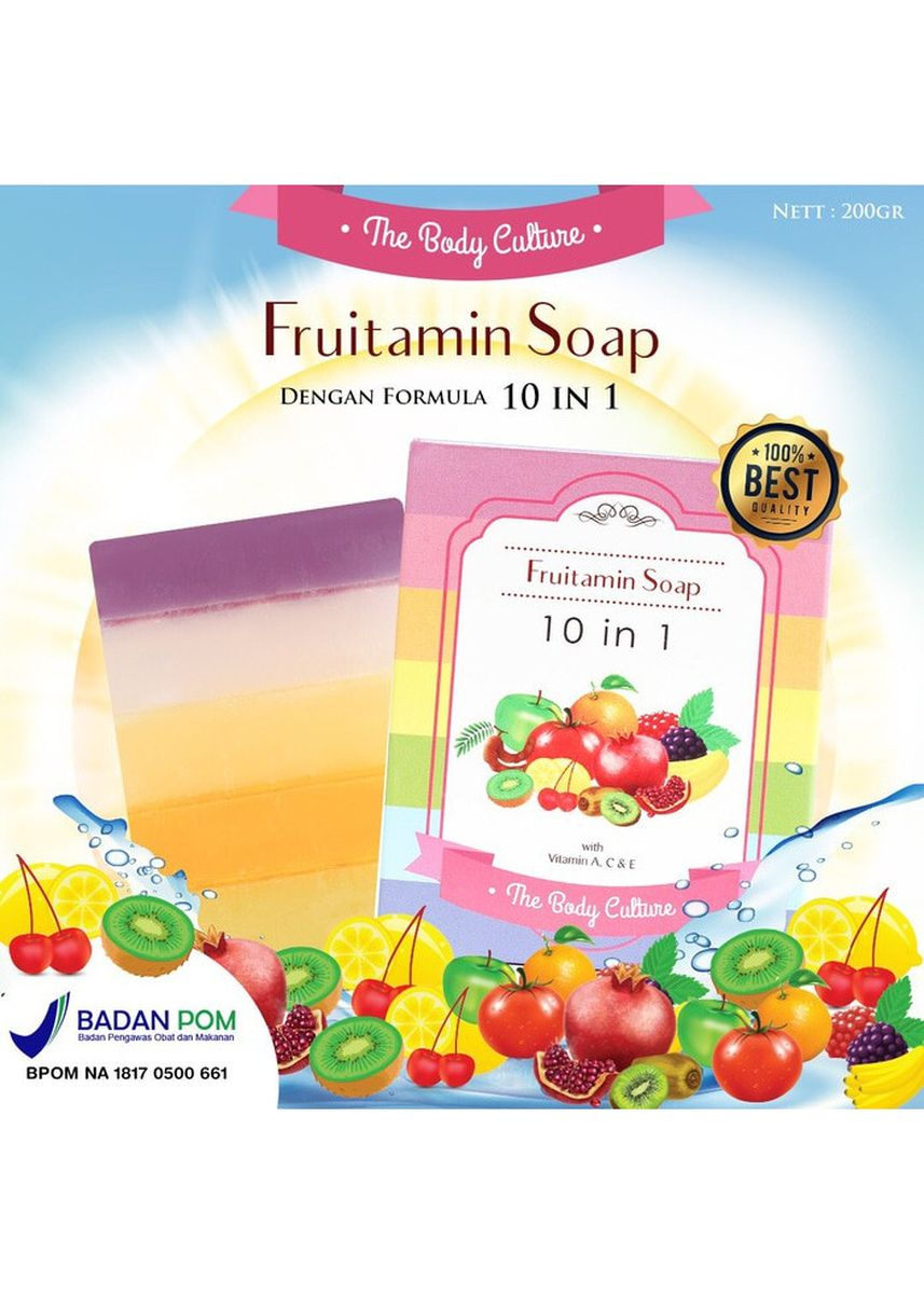 Multi color Body Bars . RADYSA The Body Culture Sabun Fruitamin Soap Fruity 10IN1 BPOM -