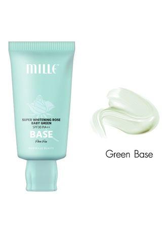 ไม่มีสี color หน้า . MILLE SUPER WHITENING ROSE GREEN BASE SPF30 PA++ FACE FIX 30G. -