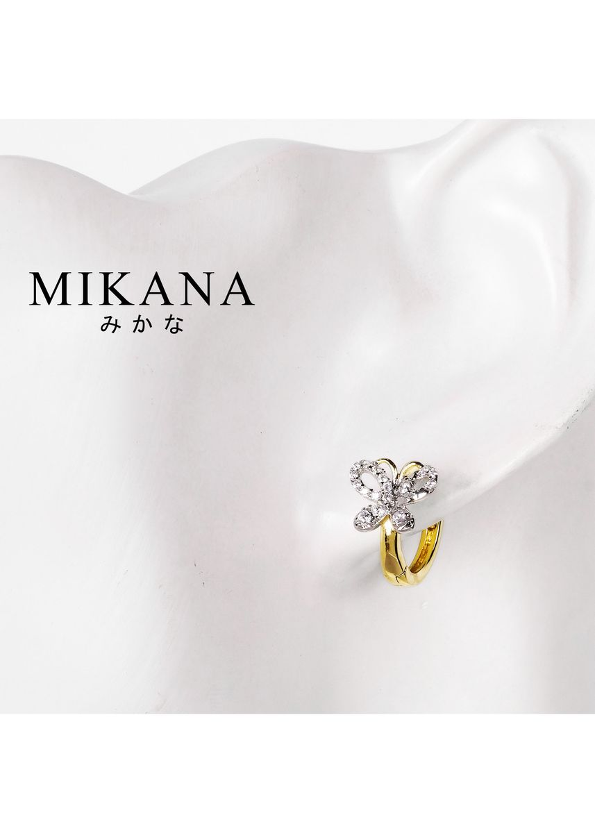 Gold color  . Mikana 18K Gold Plated Makaira Hoop Earrings Accessories for Women -