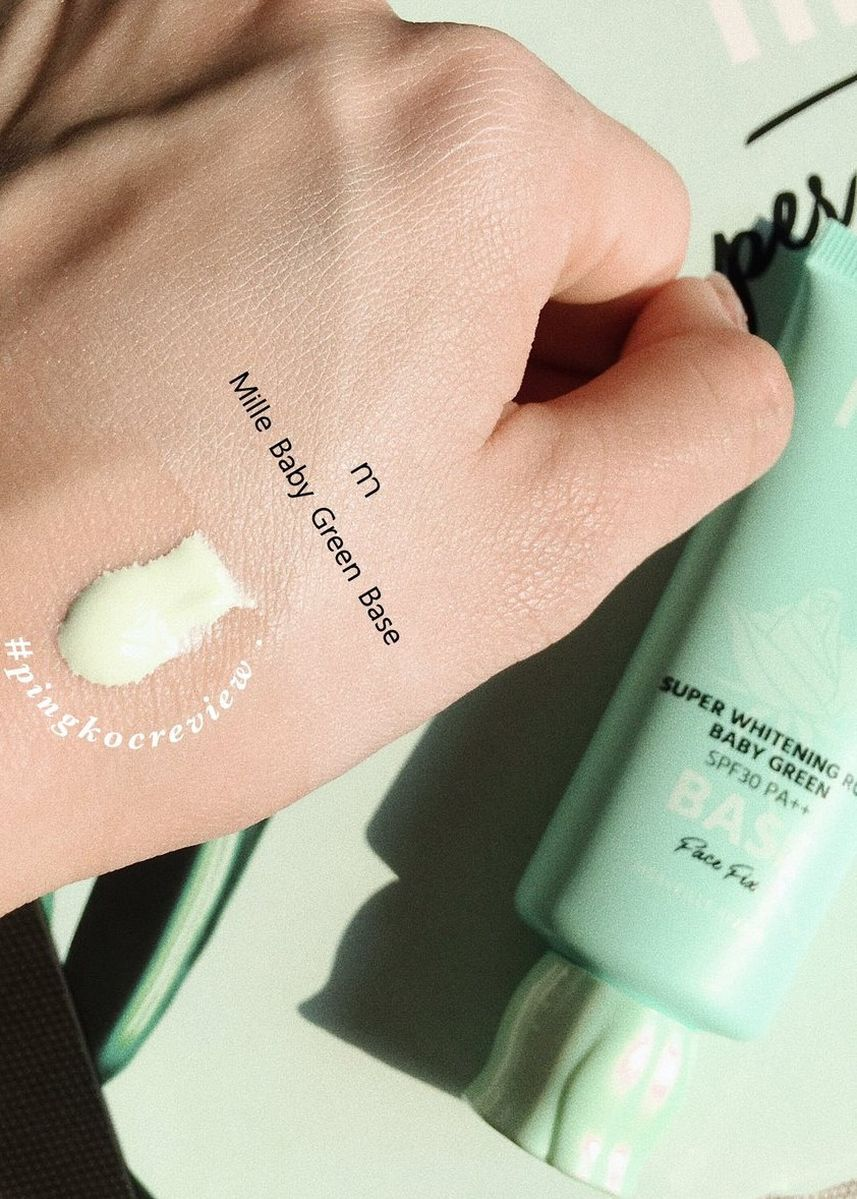 No Color color Face . MILLE SUPER WHITENING ROSE GREEN BASE SPF30 PA++ FACE FIX 30G. -
