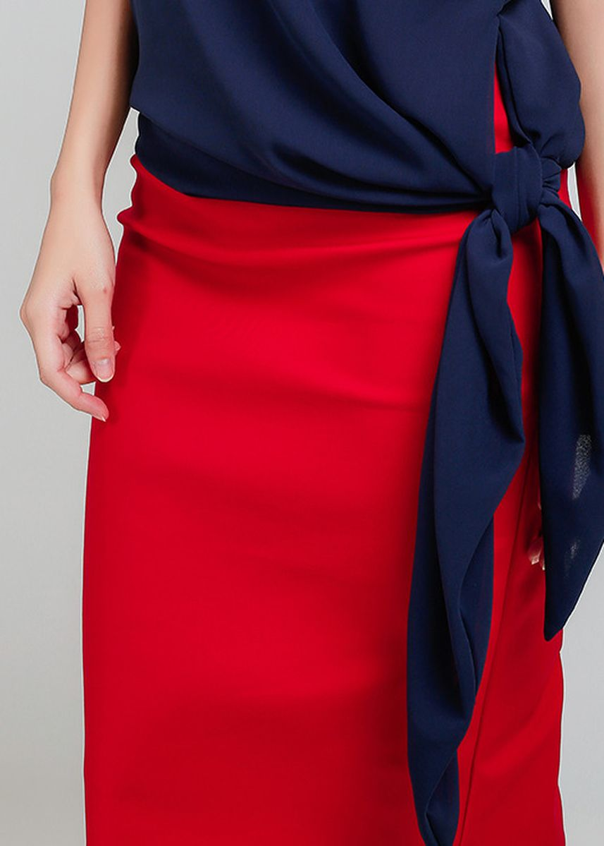 Red color Skirts . Rhea Midi Pencil Skirt -